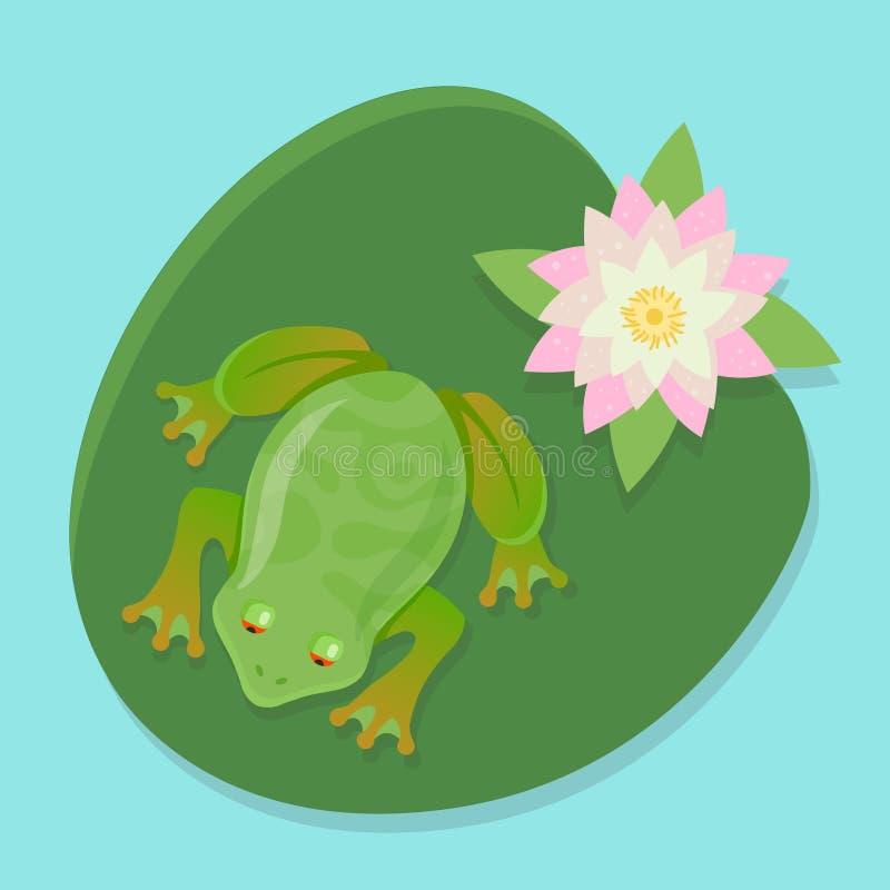 Una rana in tensione si siede su una ninfea su uno stagno illustrazione vettoriale