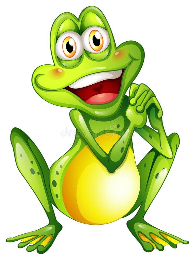 Una rana verde alegre ilustración del vector