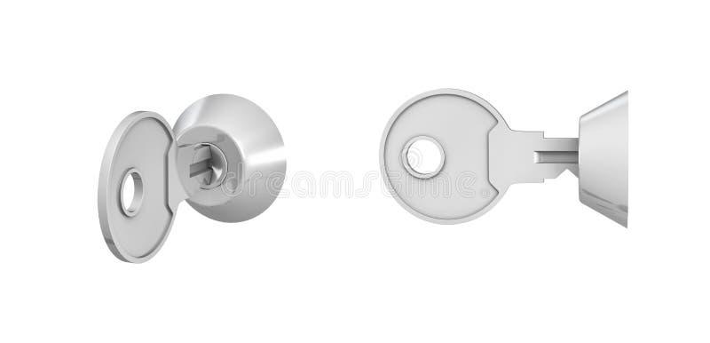 una rappresentazione 3d di 2 chiavi dentro il keylock inserisce il fondo bianco royalty illustrazione gratis
