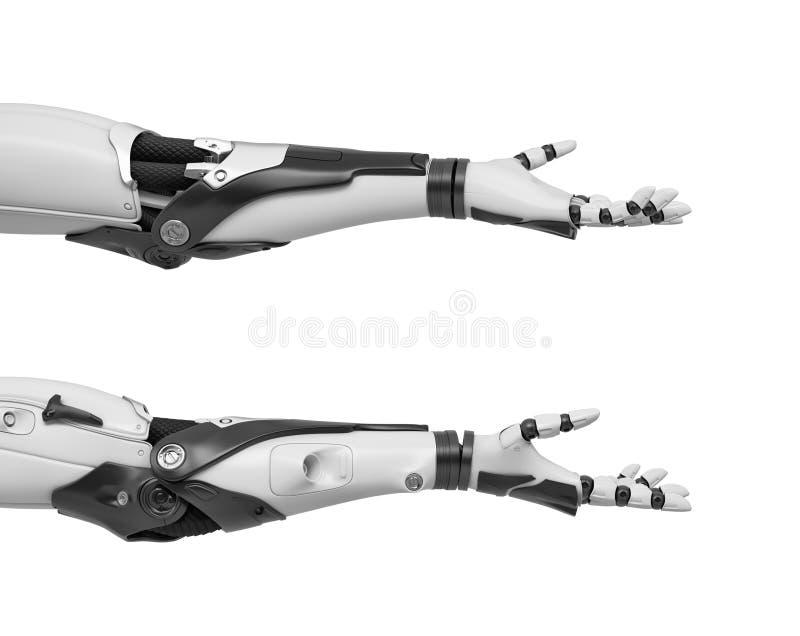 una rappresentazione 3d di due armi robot in bianco e nero indicate orizzontalmente con le palme aperte nel gesto amichevole illustrazione vettoriale