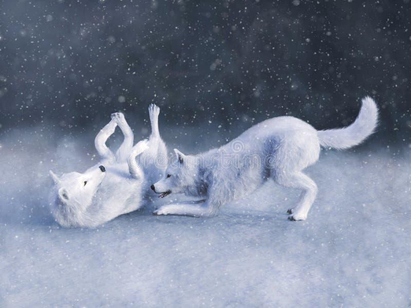 una rappresentazione 3D di due bianchi maestosi wolfs il gioco illustrazione di stock