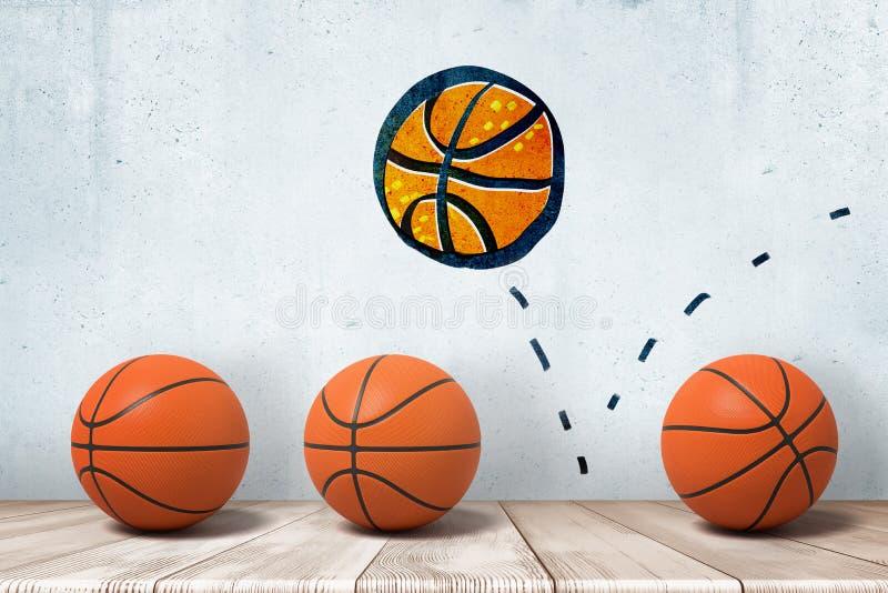 una rappresentazione 3d di tre pallacanestro in una fila sul pavimento di legno e un disegno di parete di una nuova pallacanestro fotografia stock