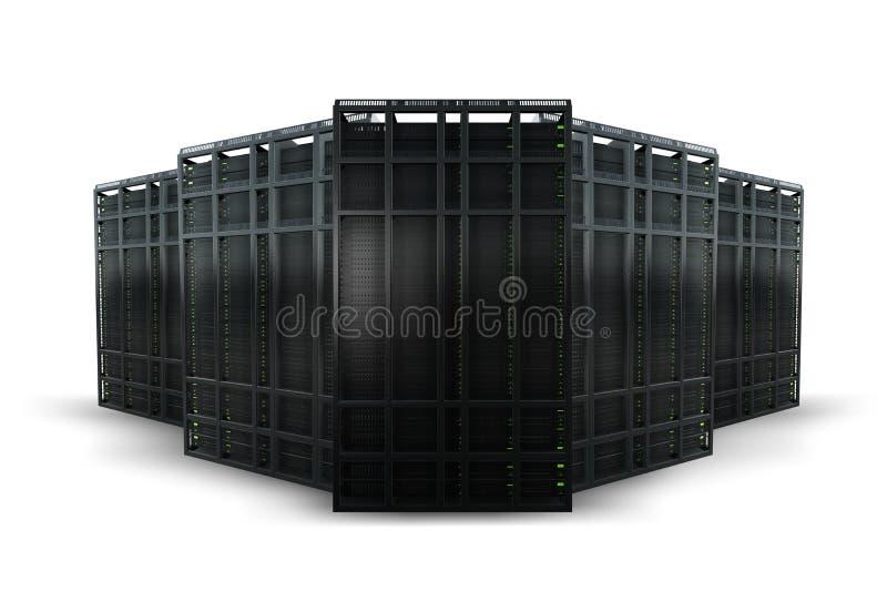 Una rappresentazione di 5 scaffali del server illustrazione di stock