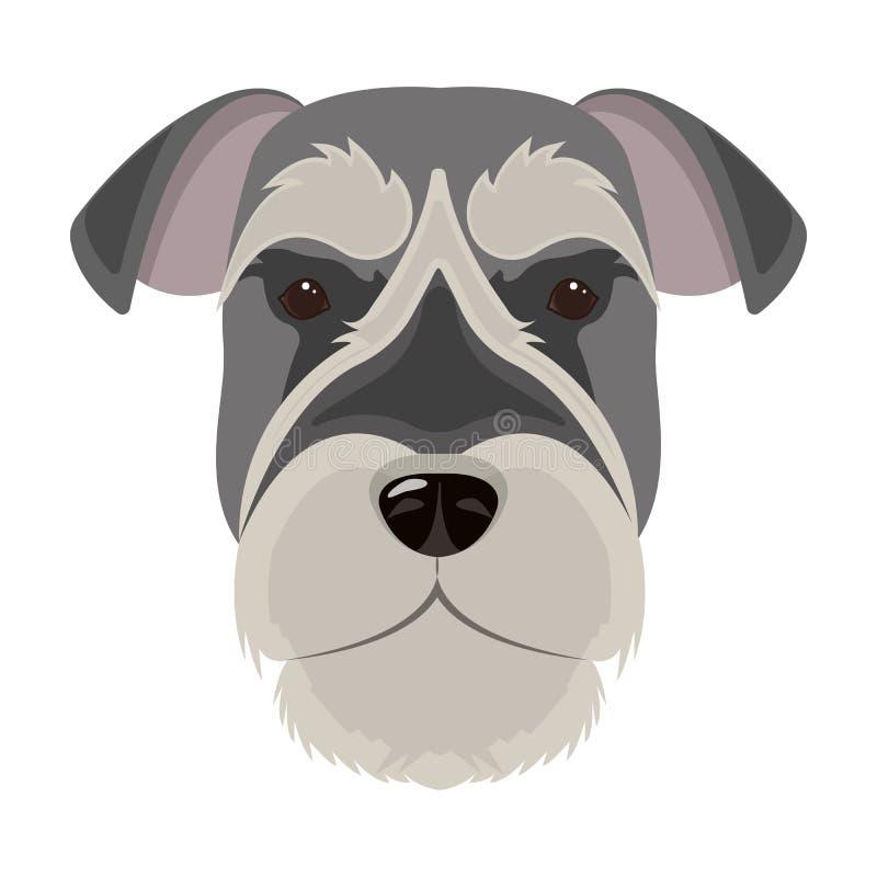 Una raza de un perro, un schnauzer subido Icono subido del bozal del Schnauzer solo en el ejemplo de la acción del símbolo del ve ilustración del vector