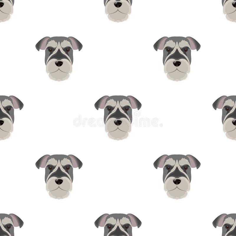 Una raza de un perro, un schnauzer subido Icono subido del bozal del Schnauzer solo en el ejemplo de la acción del símbolo del ve stock de ilustración