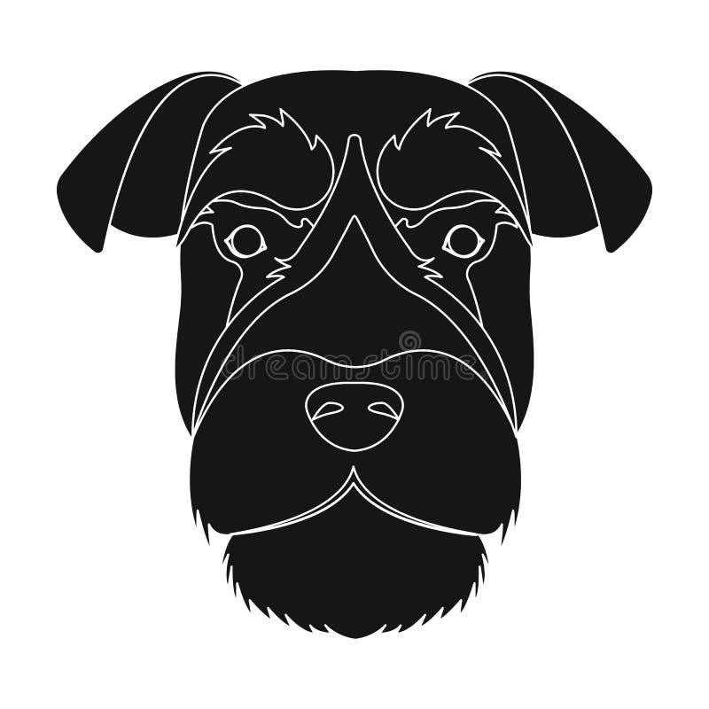 Una raza de un perro, un schnauzer subido Icono subido del bozal del Schnauzer solo en el ejemplo negro de la acción del símbolo  ilustración del vector