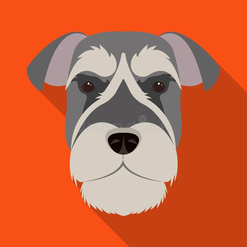 Una raza de un perro, un schnauzer subido Icono subido del bozal del Schnauzer solo en el ejemplo plano de la acción del símbolo  stock de ilustración