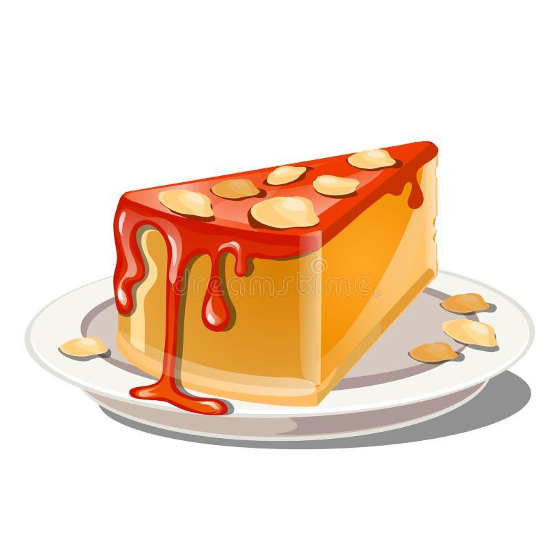 Una rebanada de pudín o de pastel de queso de la calabaza con el cereal rojo del desmoche y de la nuez de la migaja aislado en un libre illustration