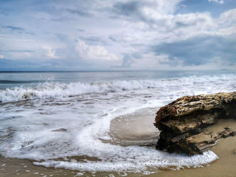 Una reflexi?n lisa sedosa chapoteante hermosa del agua que salpica en la playa foto de archivo