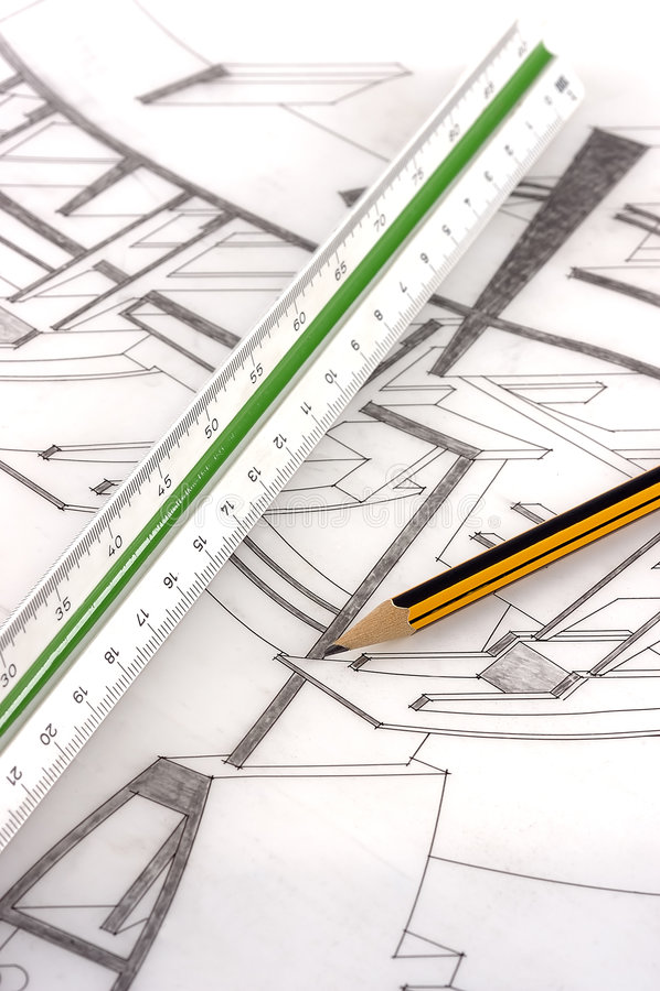 Una regla y un lápiz de la escala en un gráfico técnico fotos de archivo libres de regalías