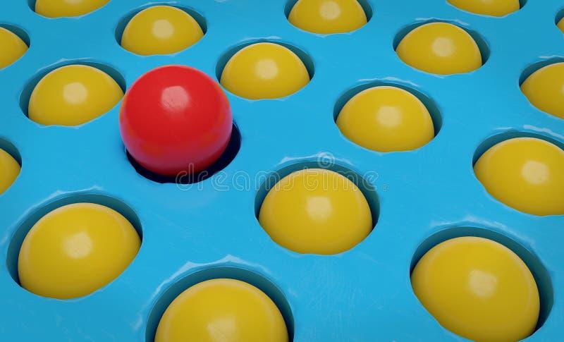 Una representación amarilla roja de la bola y muchos de las bolas 3d ilustración del vector