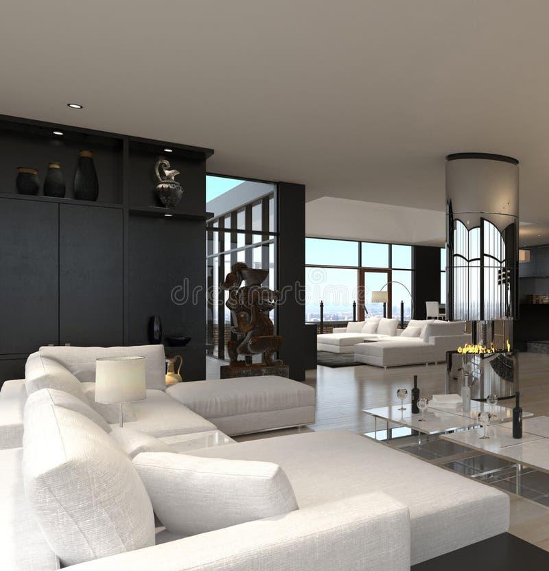 Interior moderno de la sala de estar   Desván del diseño libre illustration