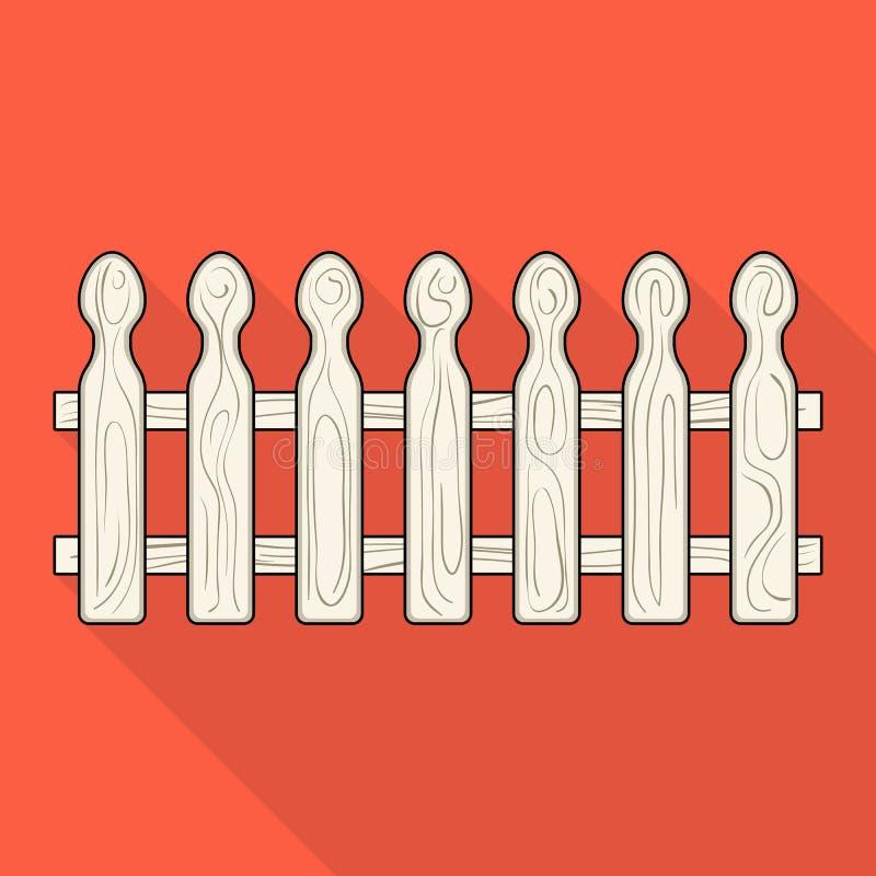 Una rete fissa di legno Una singola icona del recinto differente nel web piano dell'illustrazione delle azione di simbolo di vett royalty illustrazione gratis
