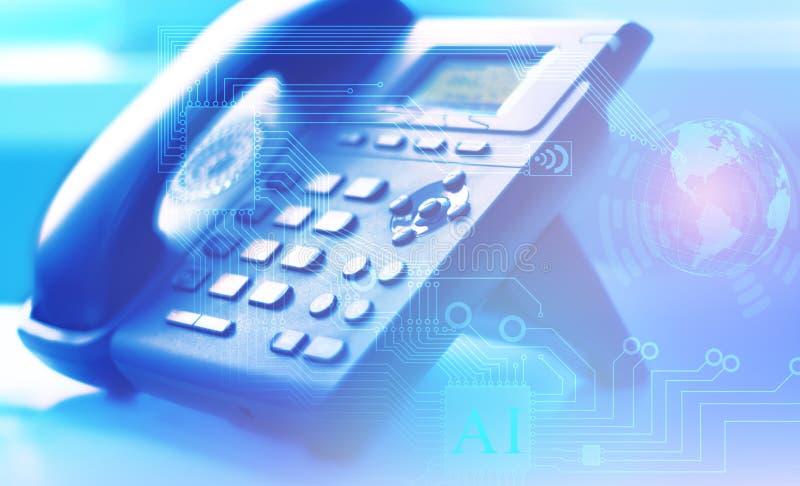 Una rete globale di telefonia e del servizio clienti di Internet universalmente con l'aiuto di un centro del contatto e delle chi illustrazione vettoriale