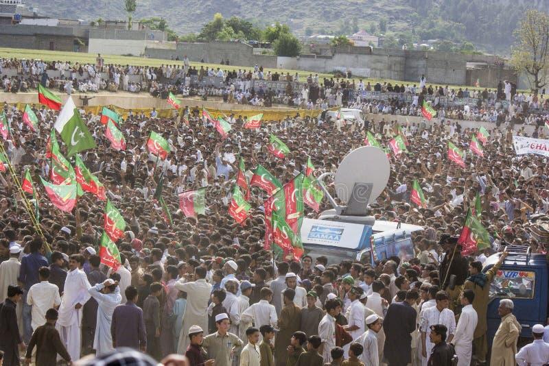 Una reunión pública de un partido político en Paquistán imagen de archivo libre de regalías