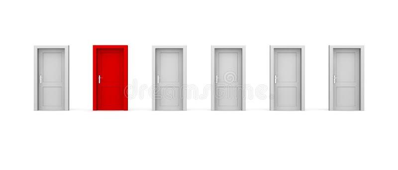 Una riga di sei portelli - un colore rosso illustrazione di stock