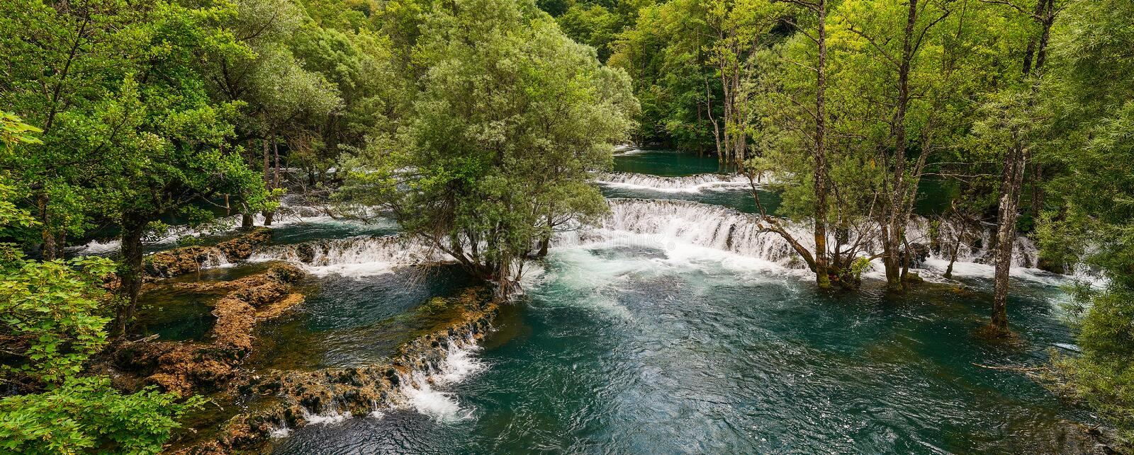Una River. Waterfall in Martin brod. Bosna and Hercegovina. Beau. Tiful big waterfall on the wild river royalty free stock photography