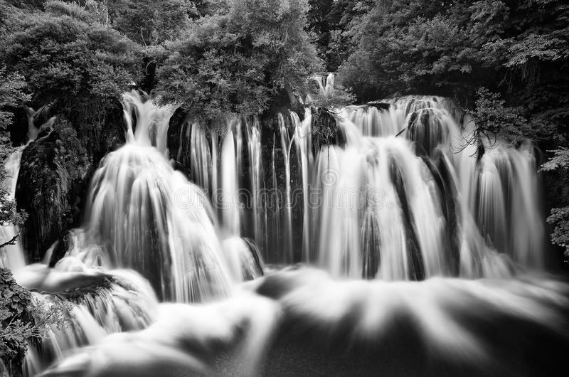 Una River. Waterfall in Martin Brod. Bosna and Hercegovina. Beau. Tiful big waterfall on the wild river taken with long exposure royalty free stock images