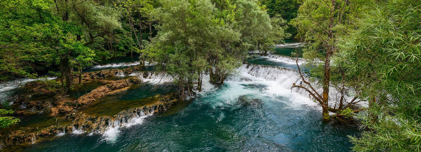 Una River. Waterfall in Martin brod. Bosna and Hercegovina. Beautiful big waterfall on the wild river. Waterfall of Una river in Martin brod. Bosna and stock images