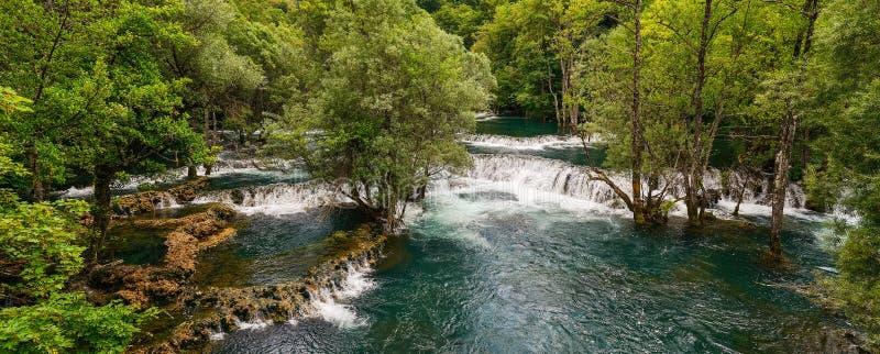 Una River. Waterfall in Martin brod. Bosna and Hercegovina. Beautiful big waterfall on the wild river. Waterfall in Martin brod on Una river royalty free stock image