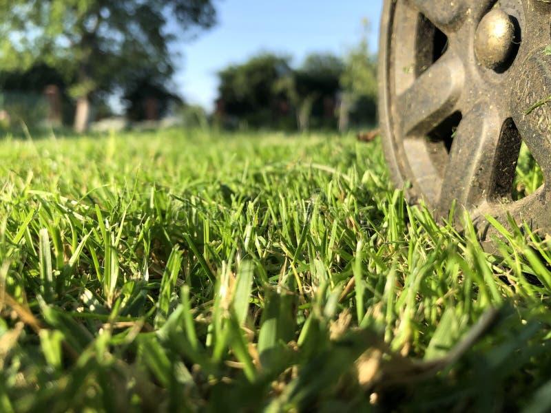 Una ruota da una falciatrice da giardino su un prato inglese truncheted dell'azienda agricola fotografia stock