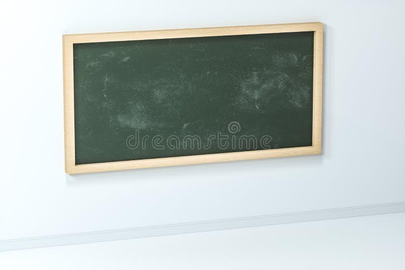 Una sala de clase con una pizarra en el frente del cuarto, representación 3d ilustración del vector