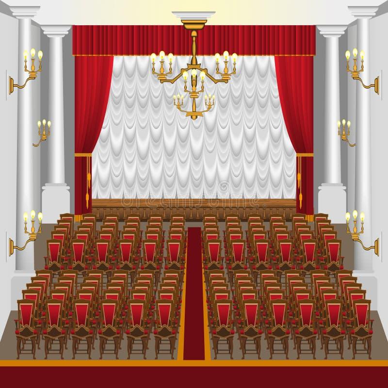 Una sala de conciertos grande con una etapa y las columnas ilustración del vector