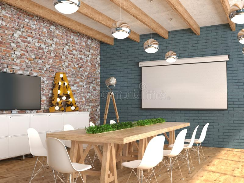 Una sala riunioni con uno schermo bianco vuoto per il proiettore sulla parete L'interno della sala per conferenze nello stile del royalty illustrazione gratis