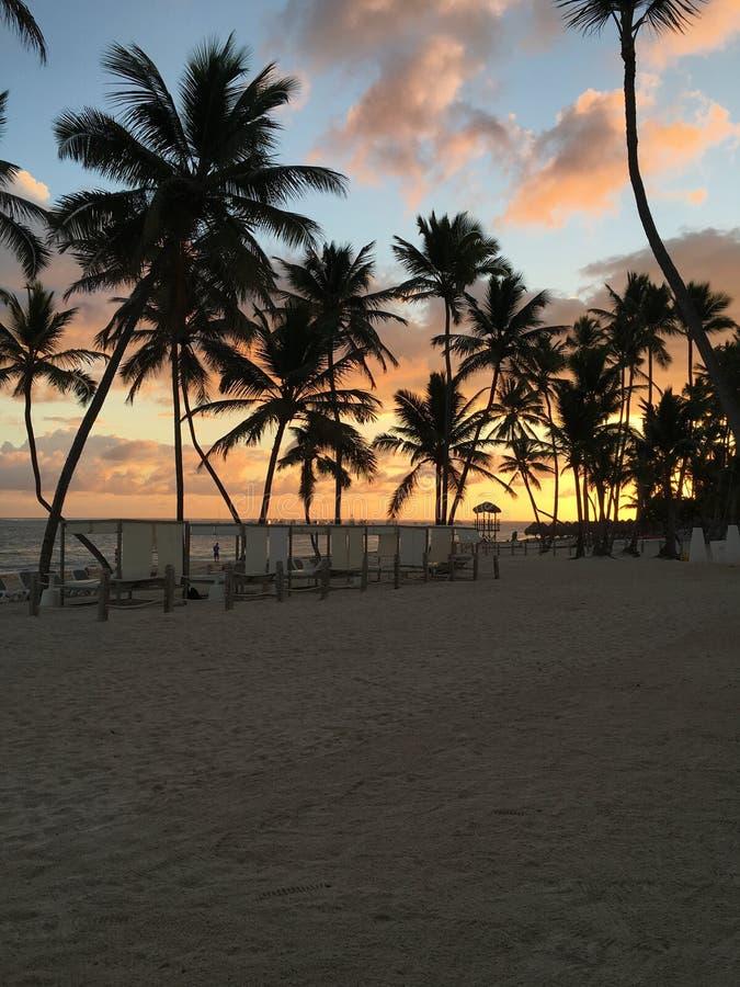 Una salida del sol en Punta Cana fotos de archivo libres de regalías