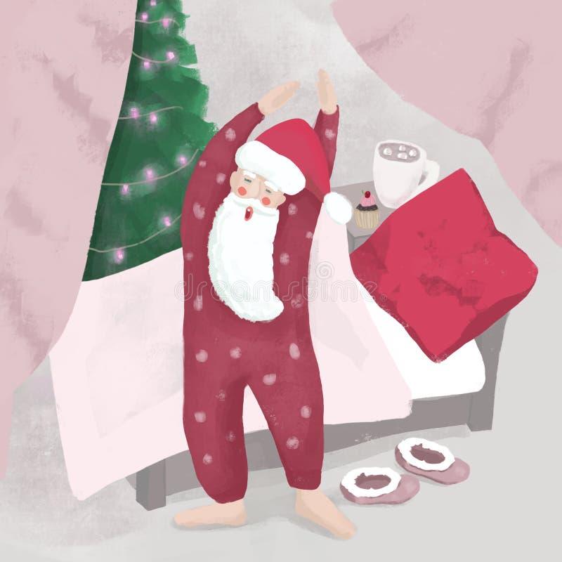 Una Santa sonnolenta che sbadiglia con fotografie stock libere da diritti