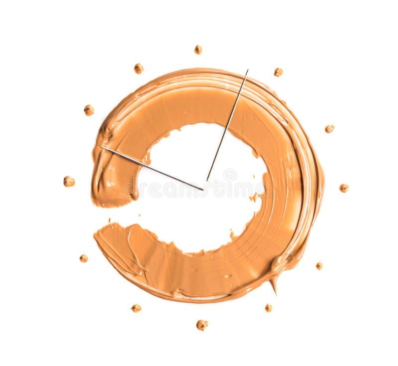 Una sbavatura del fondamento sotto forma di semicerchio, simbolizzante l'orologio Il concetto della base tonale di persistenza du immagine stock libera da diritti