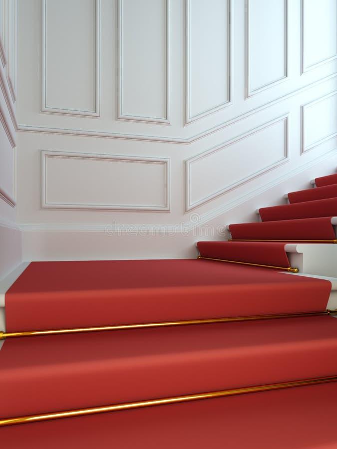 Una scala classica con un tappeto rosso. illustrazione di stock