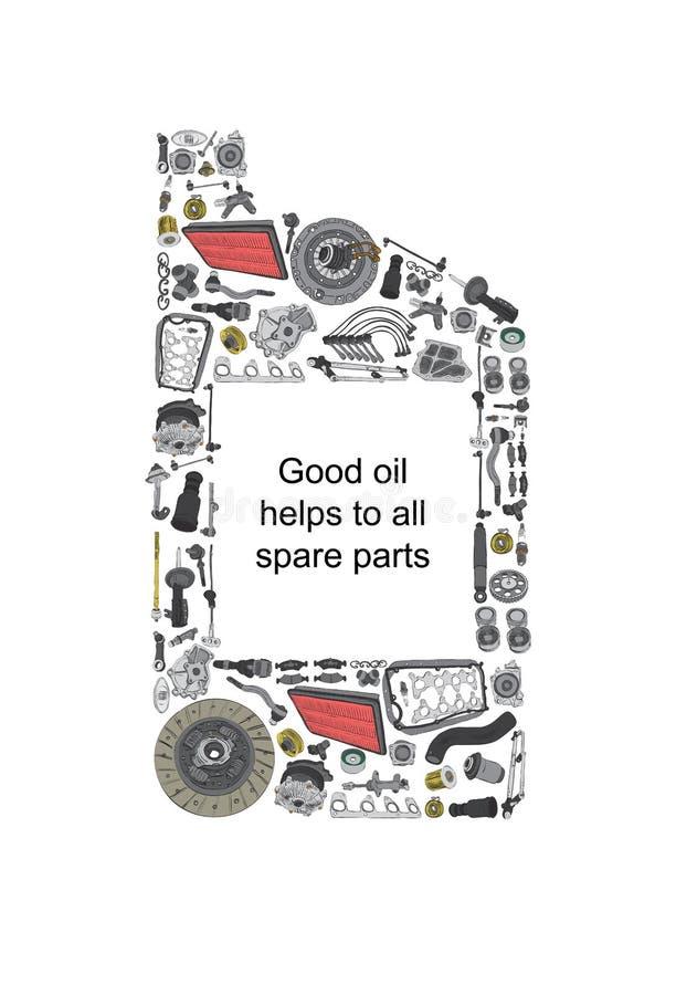 Una scatola metallica di litro dell'olio per motori illustrazione di stock