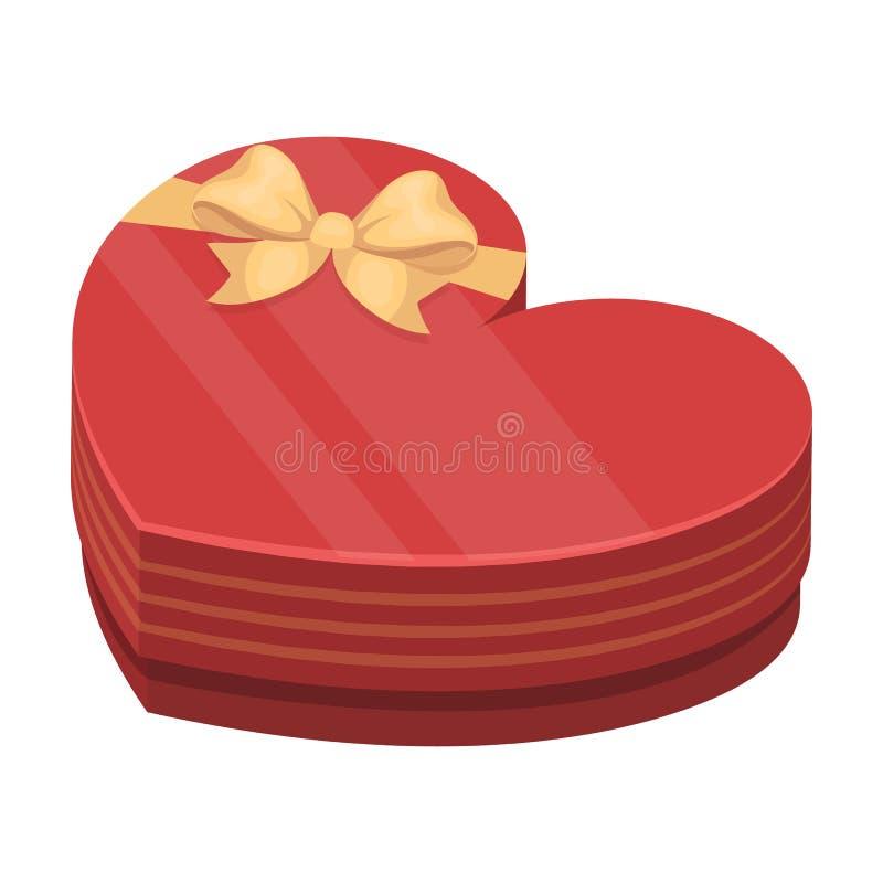 Una scatola sotto forma di cuore Un regalo ad un caro I regali ed i certificati scelgono l'icona nel vettore di stile del fumetto illustrazione vettoriale