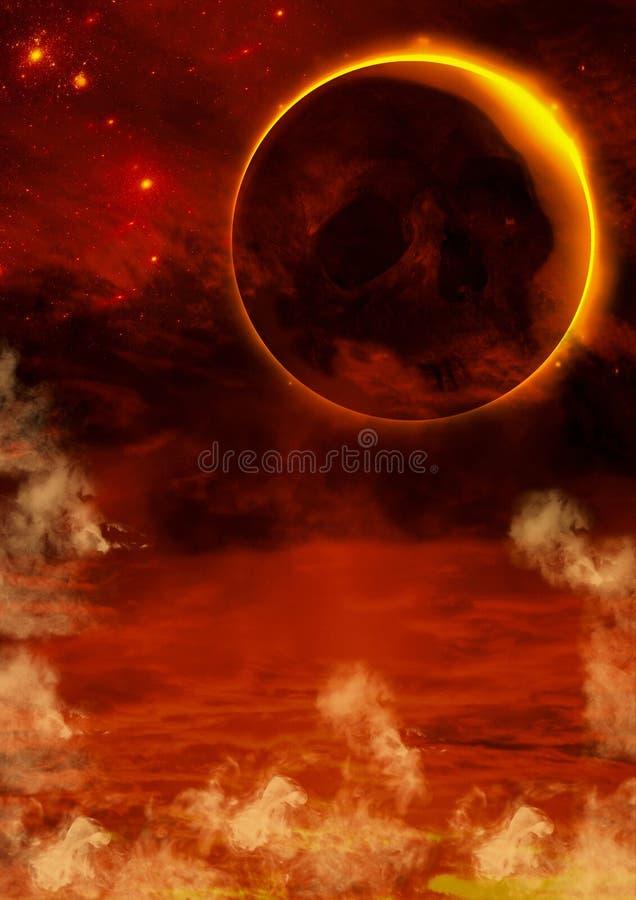 Una scena con un fondo infernale, una luna arancio e un cranio su  illustrazione vettoriale
