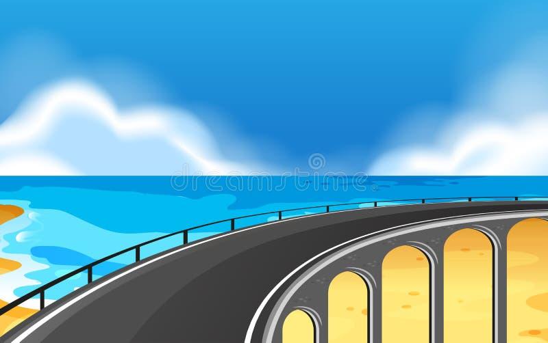 Una scena costiera della strada illustrazione di stock