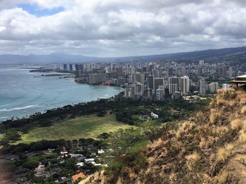 Una scena dall'isola di Oahu sulle Hawai fotografia stock libera da diritti