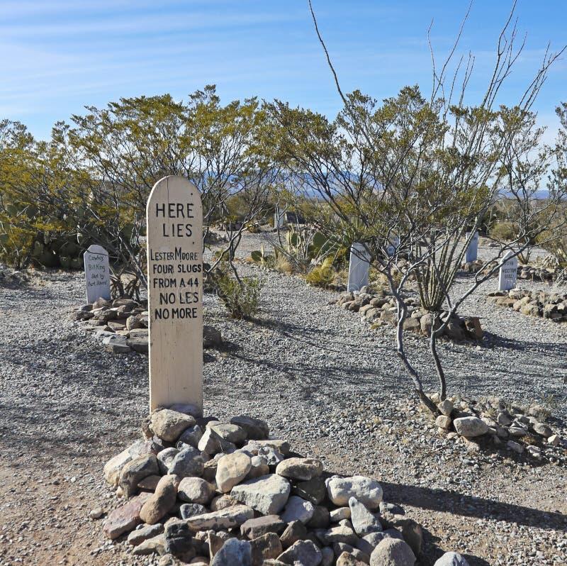 Una scena del cimitero di Boothill in pietra tombale, Arizona fotografie stock libere da diritti