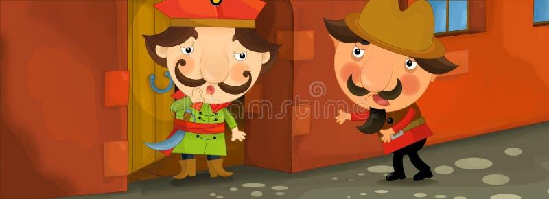 Una scena del fumetto di due uomini che parlano davanti ad una costruzione illustrazione di stock
