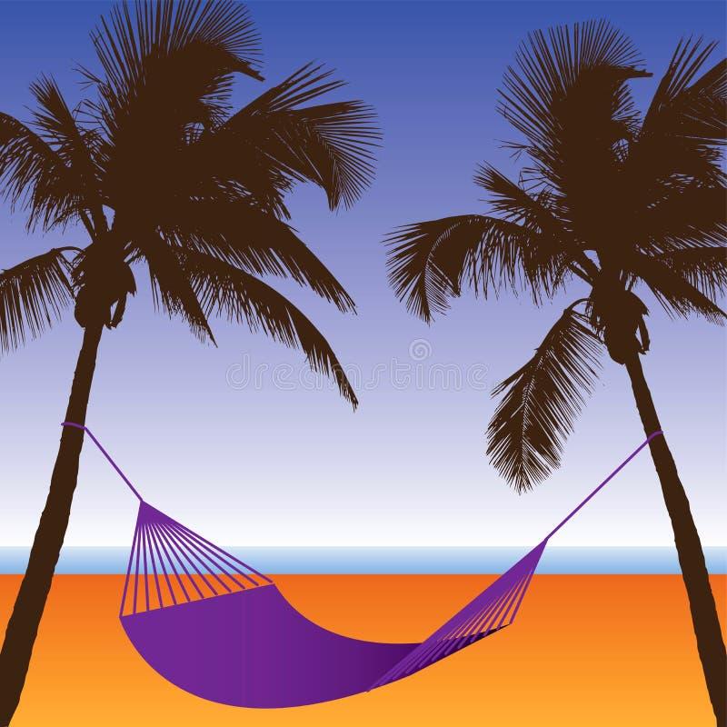 Una scena della spiaggia della palma e dell'amaca illustrazione vettoriale
