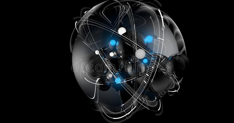 Una scena di una sfera futuristica concettuale con le sfere blu e bianche dentro  royalty illustrazione gratis