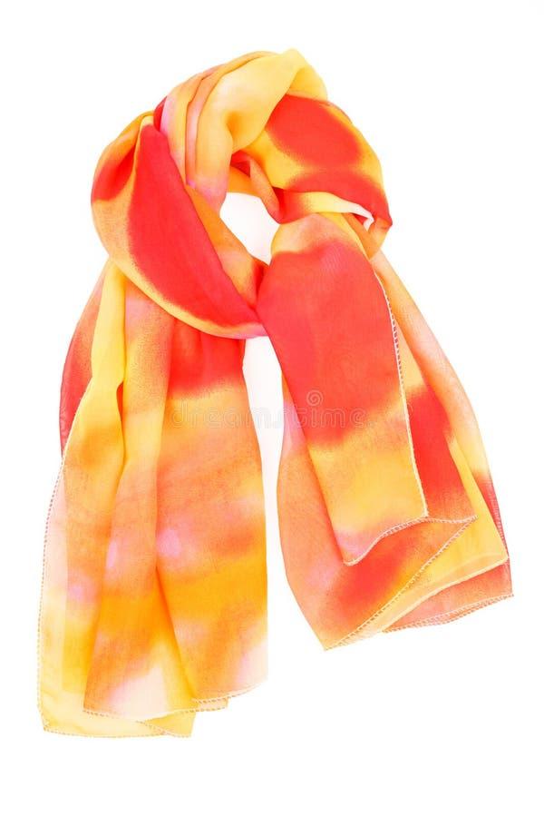 Una sciarpa di seta rossa ed arancio fotografia stock