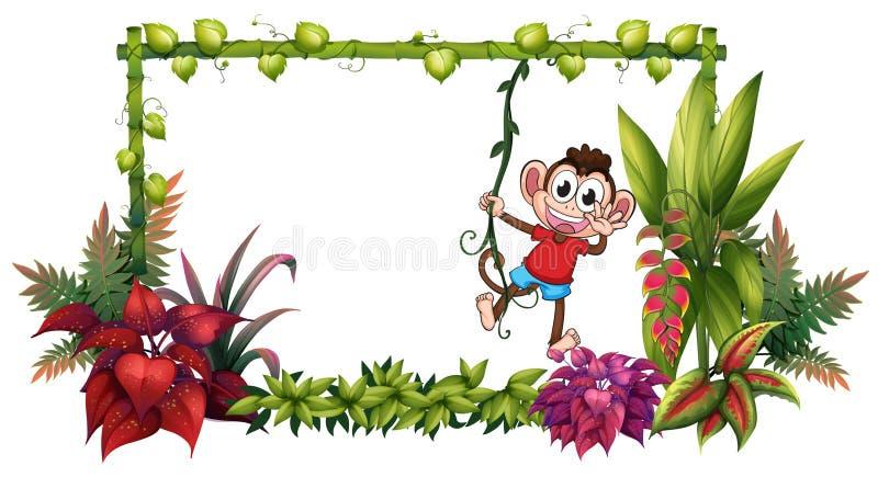 Una scimmia sorridente e piante illustrazione vettoriale