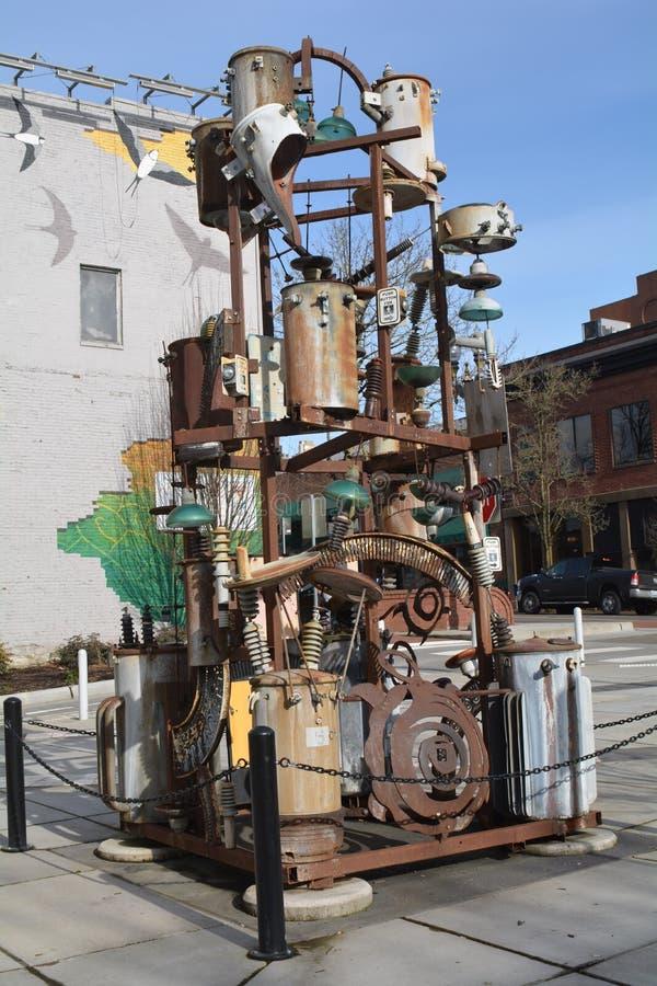 Una scultura di parti tecnologiche a Vancouver, Washington fotografie stock