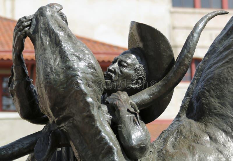 Una scultura, il primo Bulldogger, recinti per il bestiame di Fort Worth fotografia stock libera da diritti