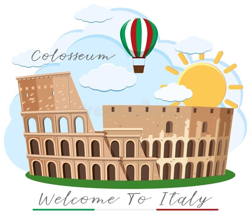 Una señal de Colosseum Roma Italia stock de ilustración