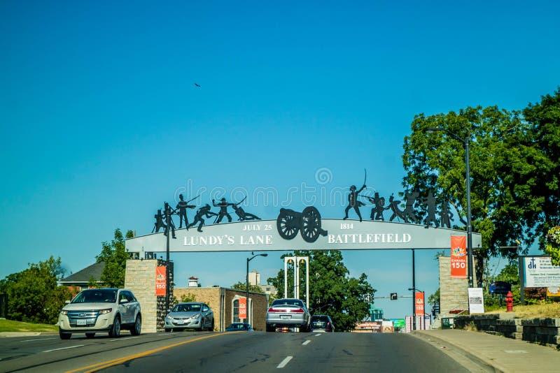 Una se?al hist?rica en Niagara Falls, Ontario imagen de archivo