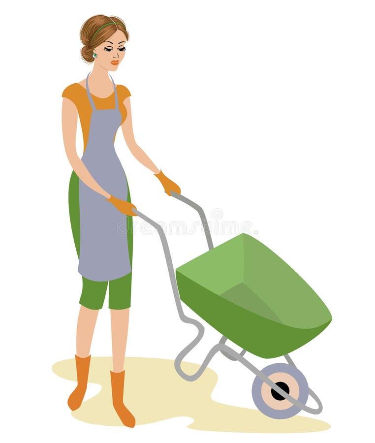 Una señora agradable en ropa de trabajo La muchacha está conduciendo una carretilla del jardín Una mujer trabaja en el jardín o e stock de ilustración