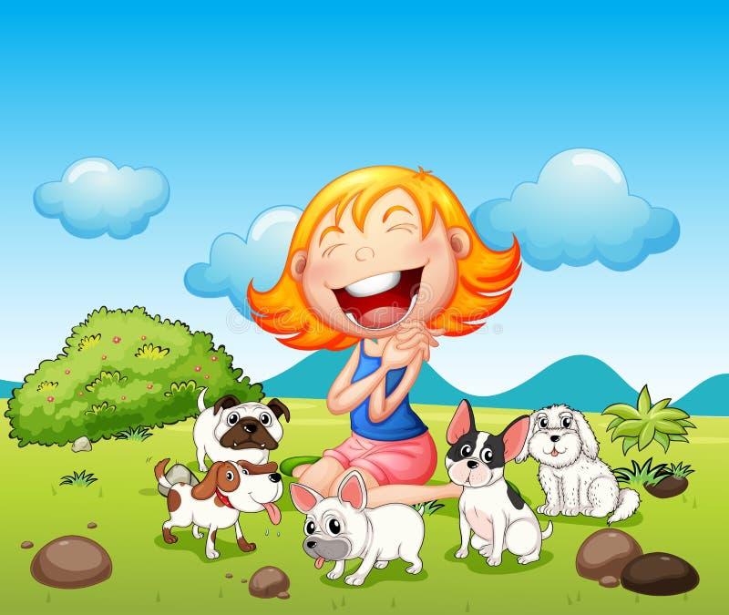 Una señora feliz con sus animales domésticos stock de ilustración