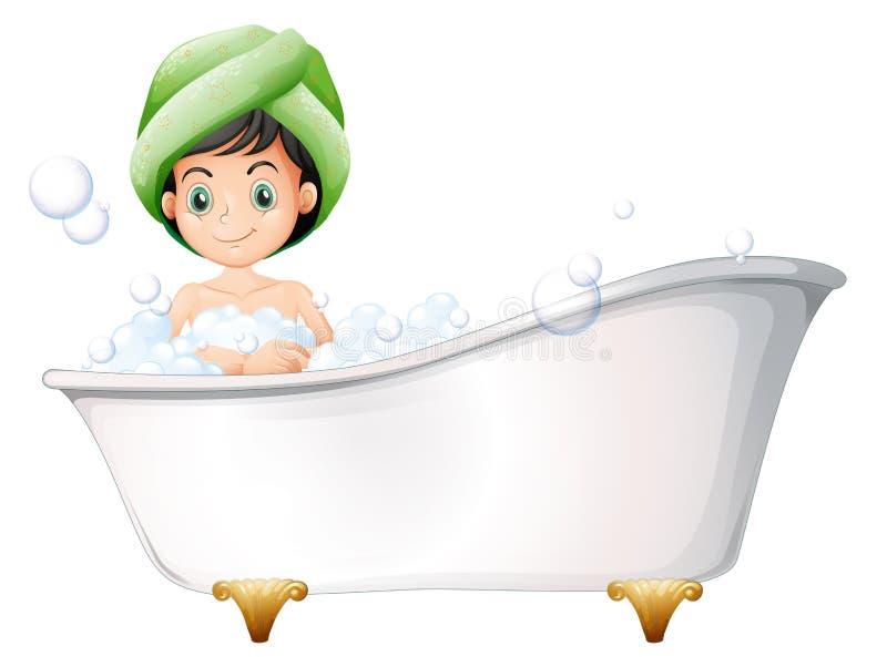 Una señora joven que toma un baño ilustración del vector